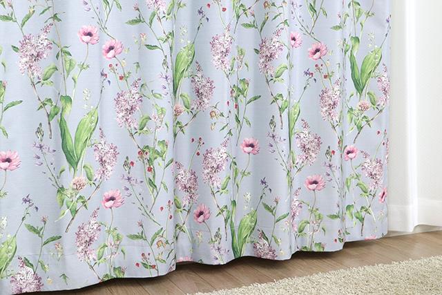 水彩花柄カーテン